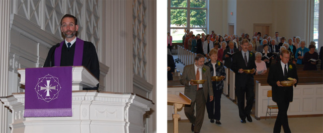 Pictured on left is Pastor Rill preaching; pictured on right is an offering taking place