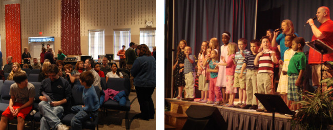 Pictured on the left are attendees of the contemporary service; pictured on right are a group of kids singing.