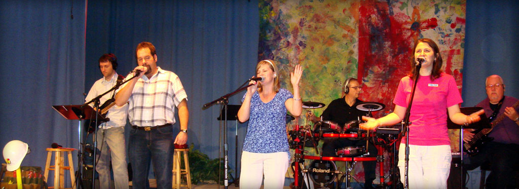 Photo of worship team singing