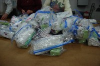 Photo of a pile of hygiene kits