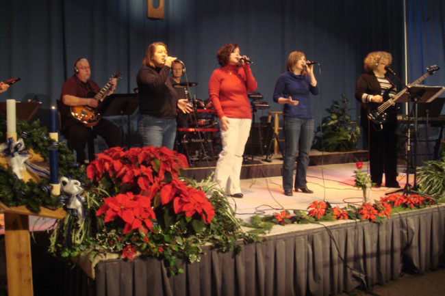 Photo of praise band performing